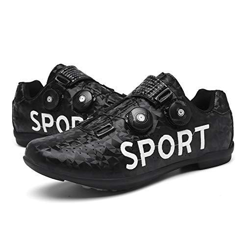 QAL Zapatillas de Ciclismo sin Bloqueo Zapatillas de MTB Zapatillas de Bicicleta de Carretera Zapatillas de Ciclismo Zapatillas de Ciclismo desbloqueadas Black-39