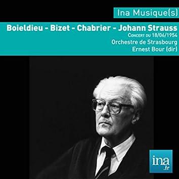 Boïeldieu - J. Strauss - Bizet - Chabrier, Orchestre municipal de Strasbourg, Concert du 18/06/1954, Ernest Bour (dir),