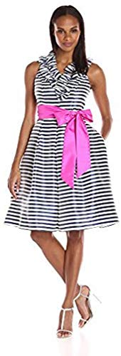 Eliza J Women's Ruffle Front Fit and Flare Dress, Ivory/Navy, 6