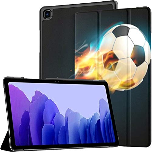 Case For Samsung Galaxy Tab A7 10.4 Inch Tablet 2020(sm-t500/t505/t507),Football Ball Flames On Dark Background Multiple Angle Stand Cover With Auto Wake/sleep