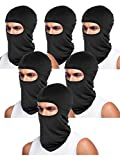 Tatuo 6 Pieces UV Sun Protection Balaclava Full Face Mask Winter Windproof Ski Mask for Outdoor Motorcycle Cycling (Dark Black)