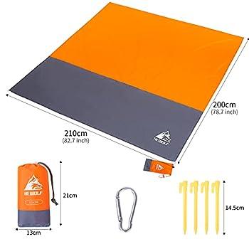 HEWOLF Couverture de plage extra large 210 x 200 cm imperméable sans sable tapis de plage pliable surdimensionné pique-nique camping couverture tapis de camping orange
