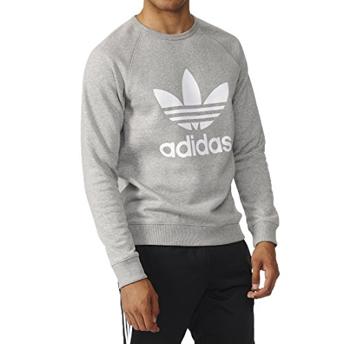 adidas Originals Men's Outerwear Trefoil Crew Sweatshirt, Medium Grey Heather