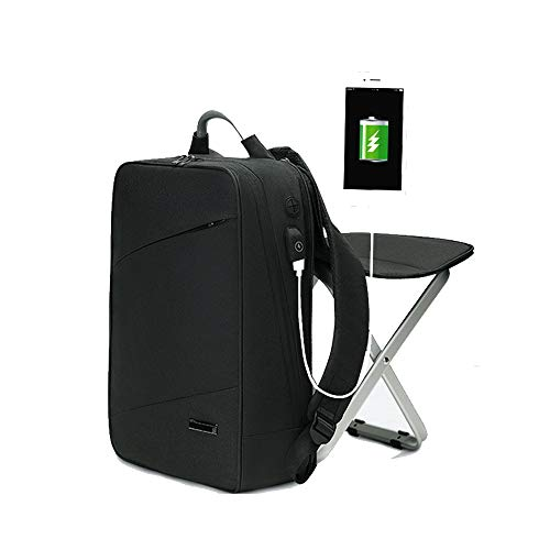 HYRL Business Sac à Dos Double Sac à bandoulière Chaise intégrée, Mode Tendance Sac Grande capacité 15,6 Loisirs Ordinateur Sac,Black