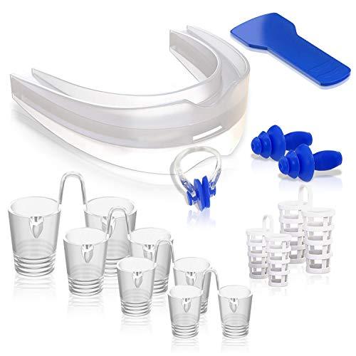 ISOTRONIC Anti Schnarchschutz Komplett Set Premium Advance 2020 für jede Nasenform – Schnarchstopper verschiedene Größen Aufbissschiene (Zahnschutz) Nasenklammer (Nasenspreizer/Nasenclip) Ohrstöpsel