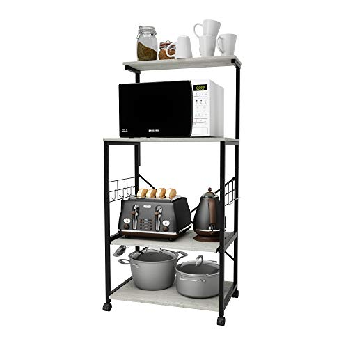 Bestier Kitchen Baker's Rack Utility Storage Shelf Microwave Stand Cart on Wheels with Side Hooks, Kitchen Organizer Rack 4 Tier Shelves Adjustable Feet (Wash White)