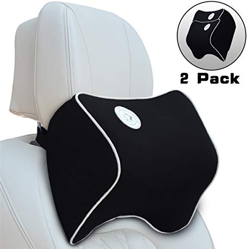 FLY OCEAN 2 Pack Car Seat Neck Pillow Headrest Cushion for Neck Pain Relief,100% Soft Memory Foam,Washable Cover,Ergonomic Design,Adjustable Strap,Over 5 Yrs Service Life(Black)