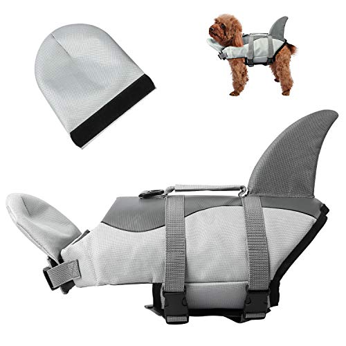 UPXNBOR Dog Life Vests for Swimming, Shark Dog Life Jacket Large Dog Floatation Vest Dog Swimming Vest with Neck Float for Boating Beach Pool Canoeing (XL,Shark)