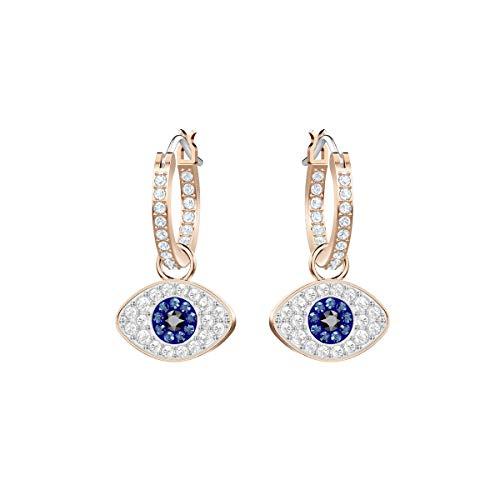 Crystal fromSwarovskis 5425857 - Pendientes de aro con cristales Swarovski en color azul y blanco