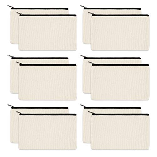 12 Pack Blank Makeup Bags Plain Canvas Cosmetic Bag Zipper Pouches for Vinyl DIY Crafts, Canvas Zipper Bags Pencil Case, Travel Cosmetic Makeup Bag