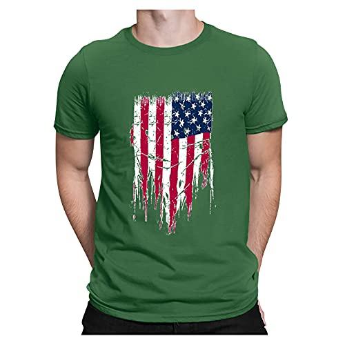 WYBD Nouveau Mode T Shirt Homme 2021, Jour De Indépendance Chemises Manche Courte Imprimée Casual été Homme Tendance Tee Shirt Homme Marque Pas Cher Grande Taille T Shirt Sport Unie Tops Blouse Haut