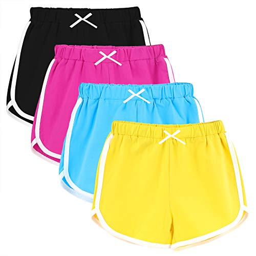 URATOT 4 Packs Girls Athletic Shorts Dolphin Yoga Short Pant Gym Workout Dance Running Shorts