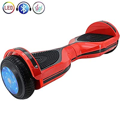 """X-PRO 6.5"""" Self Balancing Scooter Hoverboard with Bluetooth, LED Lights! Exclusive Style!(Red)"""
