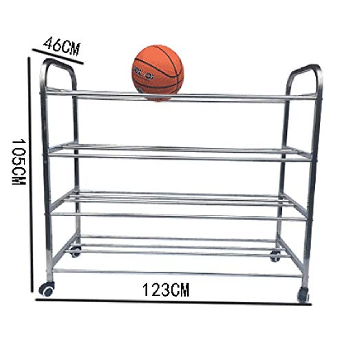 KIKIRon-Sports Ball Storage Rack Kindergarten Ball Rack Soccer Ball Storage Rack Stainless Steel Basketball Stand (Color : Silver, Size : 123x105x46cm)