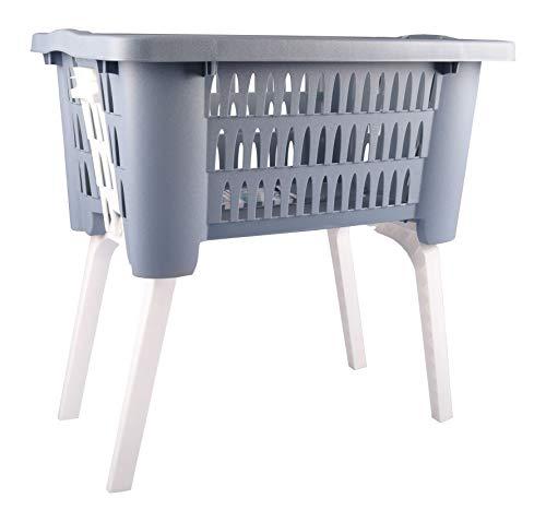 Freizeitmöbel und Leitern Wäschekorb mit ausklappbaren Beinen Wäschesammler Wäschetruhe Wäschebox NEU, Farbe:grau