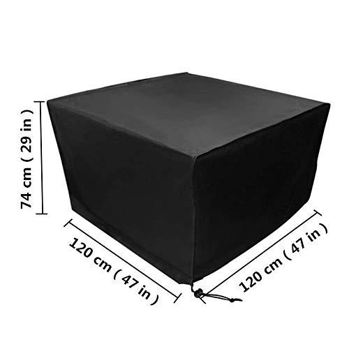 Fablcrew Housse Mobilier de Jardin Extérieur Grande étanche Cube Set de Table Housse de Protection pour Rotin Terrasse des Ensembles Noir (120 * 120 * 74CM)