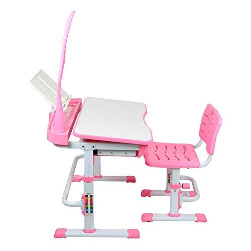 Simplicidad creativa, silla de escritorio para niños, ajustable, silla de escritorio, juego de escritorio multifuncional y juego de lámparas con lámpara LED, mesa de estudio para niños para escritorio