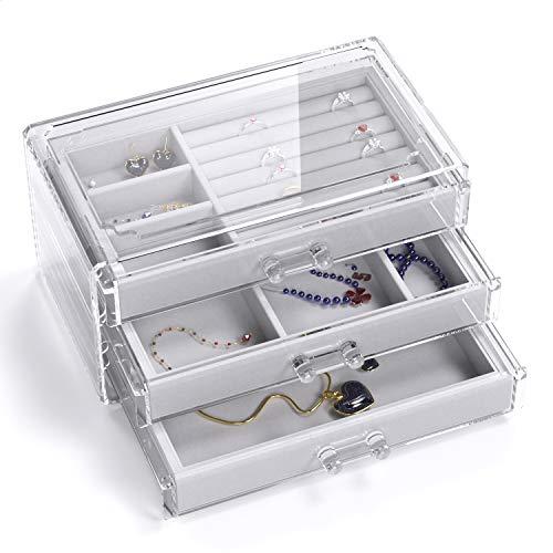 UEK Caja de Joyería para Mujeres con 3 Cajones, Organizador de Terciopelo para la Pulsera del Brazalete de Aretes Y Almacenamiento de Anillos (Gris)