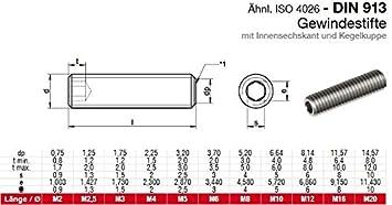 M4x6 - DIN 913 - Madenschrauben V2A Gewindestifte mit Kegelkuppe und Innensechskant Antrieb - aus rostfreiem Edelstahl A2 ISO 4026 10 St/ück - SC913