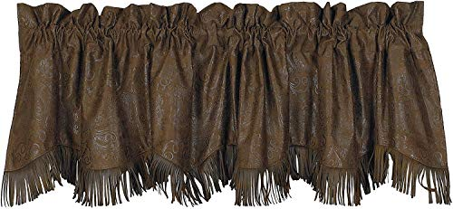"""HiEnd Accents Faux Tooled Leather Western Valance, 4'2"""" x 5' - VL1004"""