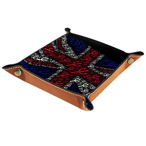 LynnsGraceland Tablett Leder,UK Flag Trident Gabel Union Jack,Leder Münzen Tablettschlüssel für Schmuck,Telefon,Uhren,Süßigkeiten,Catchall-Tablett für Männer & Frauen Großes Geschenk