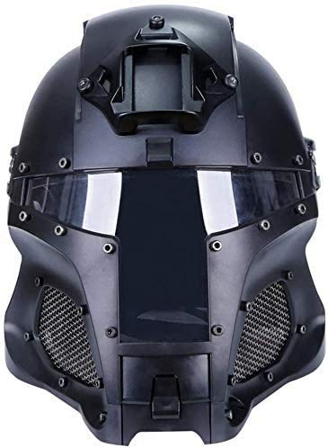 Erobo Airsoft Tactical Military Ballistic Helmet Tactical Riding Sorta-Kinda Mandalorian/Boba Fett/Galac-Tac Style with Full Face Head Exchangable PC Lens Retro Helmets