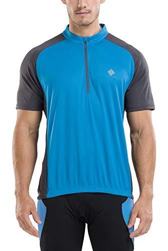 "KORAMAN Mens Reflective Short Sleeve Cycling Jersey Quick-dry Breathable Biking Shirt Blue,XL(chest 45.28"")"