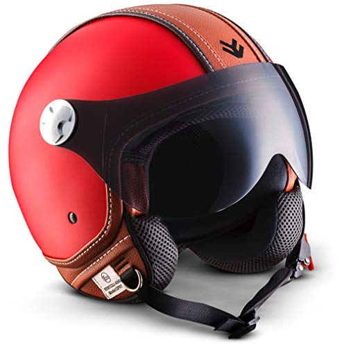 "ARMOR HELMETS® AV-84 ""Vintage Deluxe Red"" · Jet-Helm · Motorrad-Helm Roller-Helm Scooter-Helm Moped Mofa-Helm Chopper Retro Vespa Vintage Pilot · ECE 22.05 Visier Schnellverschluss Tasche M (57-58cm)"