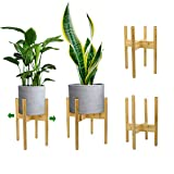 Adjustable Plant Stand, Mid Century Bamboo Modern Flower Potted Holder Rack for Indoor Outdoor, Fit 8'' to 12'' Planter, Pots Pot & Plant Not Included