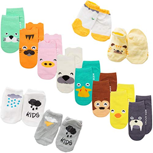 XM-Amigo - 22 pares de calcetines de bebé, con diseños impresos de animales de dibujos animados, calcetines antideslizantes, para bebés