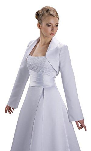 Nina Brautmoden E76 - Bolero de novia (tallas S - 3XL, satén, talla E76) blanco marfil S