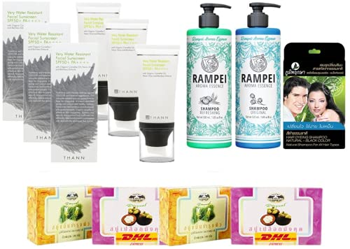 Set A36 Very Water Resistant Facial Sunscreen SPF50+ Rampei Aroma Essence Shampoo Refreshing & DHL EXPRESS By Thaigiftshop [Get Free Tomato Facial Mask]