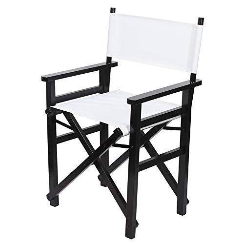YANGMAN Chaise Pliante de Directeur de Maquillage, Chaise en Bois de hêtre de Peintres, mobilier d'extérieur, pour la randonnée, Le Camping ect, Hauteur du siège 47,5 cm,Whitecloth
