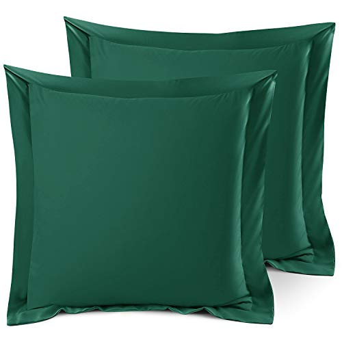 Nestl Bedding Soft Pillow Shams Set of 2 - Double Brushed Microfiber Hypoallergenic Pillow Covers - Hotel Style Premium Bed Pillow Cases, Euro 26'x26' - Hunter Green
