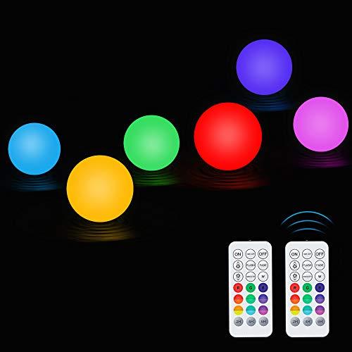 Wasserdichte Schwimmend Licht, Jooheli 6Pcs Pool Licht RGB Multi Farbwechsel LED Poolbeleuchtung, 3 Inch IP67 Schwimmende Lampen Dekolicht für Swimmingpool, Vase Base, Party, Dekor Lichter, Hochzei