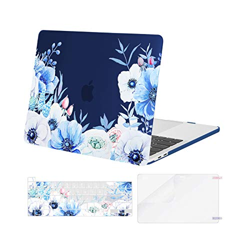 MOSISO Compatible with MacBook Pro 13 inch Case 2016-2020 Release A2338 M1 A2289 A2251 A2159 A1989 A1706 A1708, Plastic Myosotis Hard Shell Case&Keyboard Cover Skin&Screen Protector, Blue