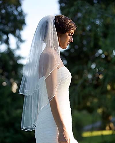 Prosy Voile de mariée à 2 étages en tulle avec peigne pour femme et fille (Blanc)