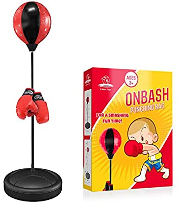 EMAAS OnBash Punching Bag Set for Kids with Punching Bag,Boxing Gloves,Hand Pump & Adjustable Stand-Safe for Kids Aged 3 & Above-Great Gift Option for Girls & Boys- Portable & Long-Lasting
