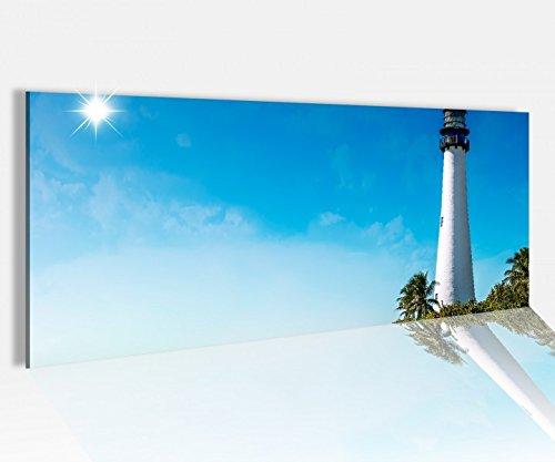 Acrylglasbild 100x40cm Cape Florida Leuchtturm Turm Meer Wasser Strand Acrylbild Glasbild Acrylglas Acrylglasbilder 14A1268, Acrylglas Größe1:100cmx40cm