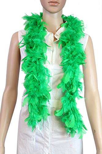 Over 10 Color 25 Gram, 4 Feet Long Chandelle Feather Boa, Kids Feather Boa, Great for Party, Wedding, Halloween Costume, Christmas Tree, Decoration (Kelly Green)