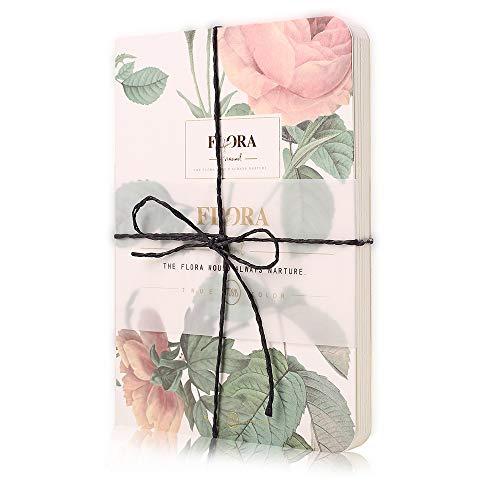 Shulaner Flor Notebook Blank Pages, cuaderno paginas en blanco, 80 hojas blancas, tapa dura blanda libro de bocetos del bloc de notas tapa blanda cuaderno diario - Flor Rosa