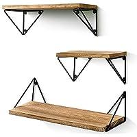3-Set Bayka Floating Mounted Rustic Wood Wall Shelves