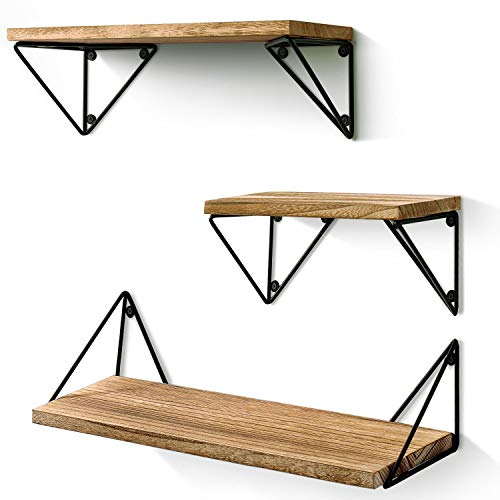 BAYKA Floating Mounted Set of 3 Rustic Wood Wall Shelves for Living Room Bedroom Bathroom