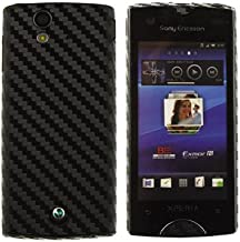 Skinomi TechSkin Black Carbon Fiber Full Body Skin Protector Compatible with Sony Ericsson Xperia Ray