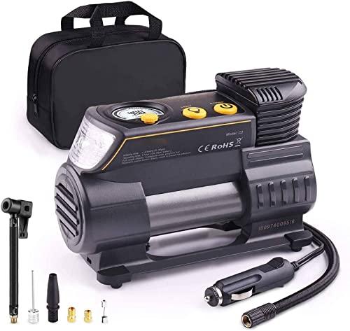 MJT Compresor Aire Coche, 12V Auto Inflactor Ruedas Coche Embalado, Inflador Electrónico con Conector Rápido,...