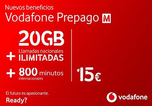Vodafone Prepago M 20GB + llamadas ilimitadas nacionales (800 min internacionales) Roaming Europa EEUU