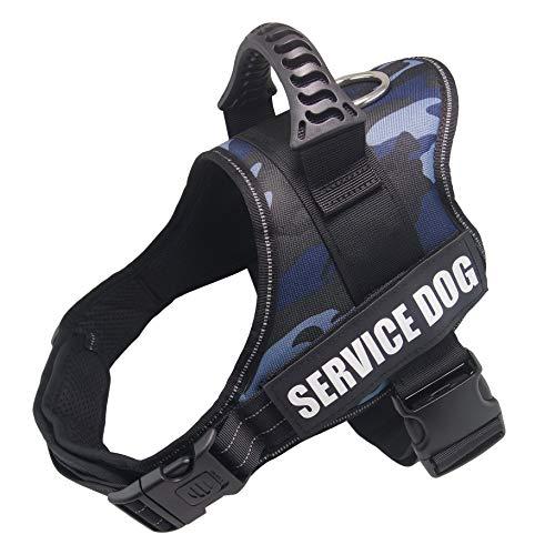 Dihapet Dog Harness, Service Dog Vest, No Pull No Choke Dog Vest for Training Walking Jogging (XS Chest 17-22in, Blue Camo)