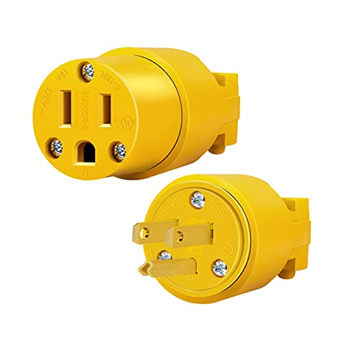 ENERLITES Electrical Replacement Plug & Connector Set, Extension Cord Ends Male and Female, 15 Amp 125 Volt, Straight Blade Plug Grounding Type, NEMA 5-15P & 5-15R, UL Listed, 66202-Y, Yellow