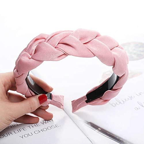 Tony plate Bandeau Mode Femmes S Bandes De Cheveux Tressés pour Filles Bandeau Cheveux Cerceau Cheveux Accessoires Couleur Unie-Rose