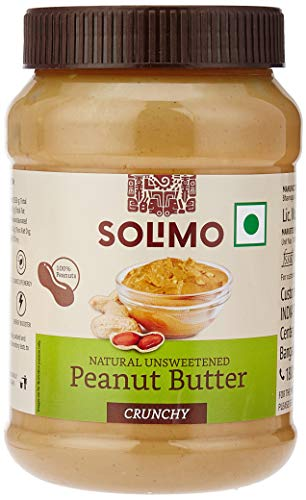 Amazon Brand - Solimo Natural Unsweetened Peanut Butter , Crunchy , 1 kg